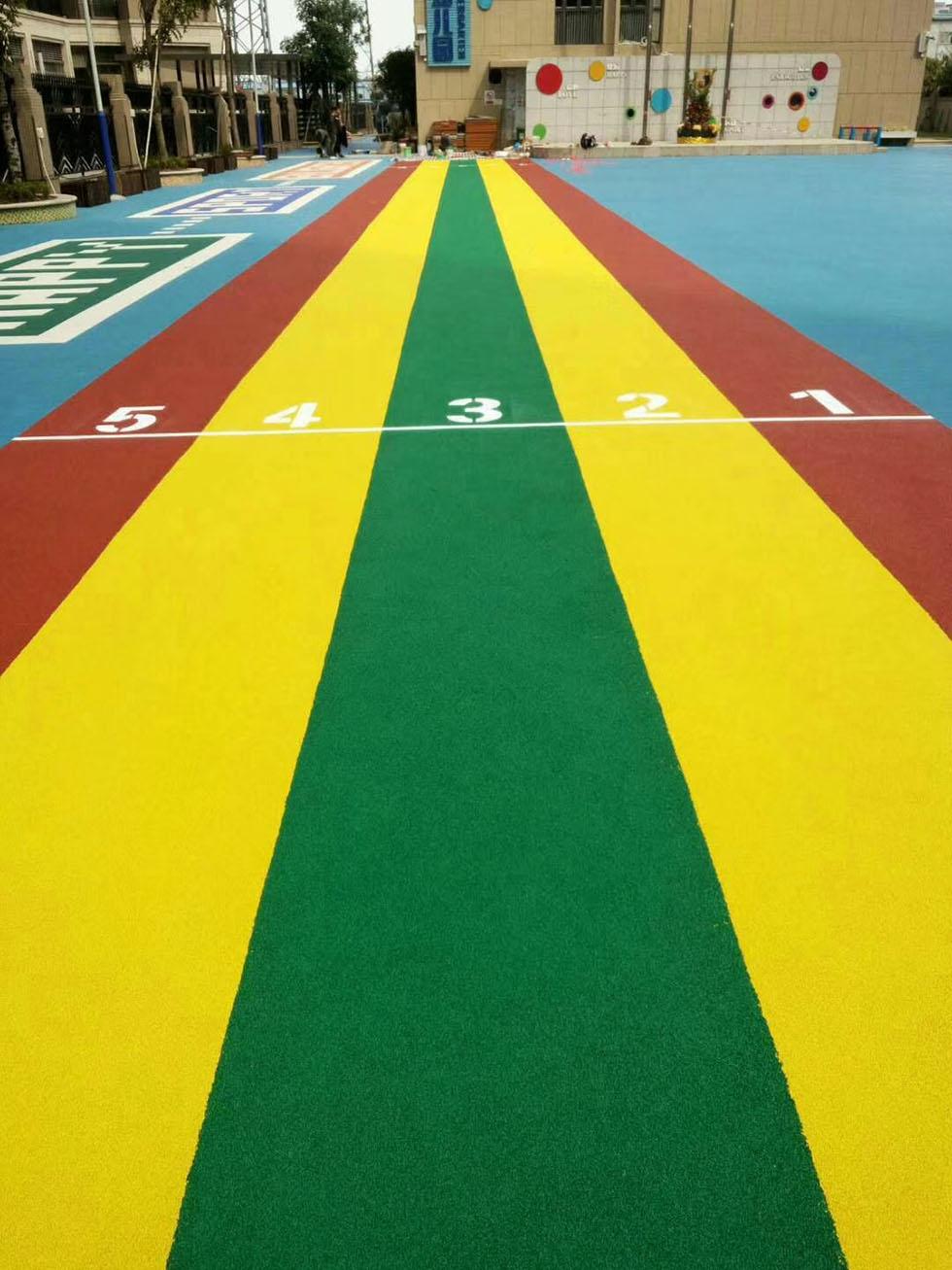 硅PU篮球场工程之EPDM彩色颗粒跑道性能特点