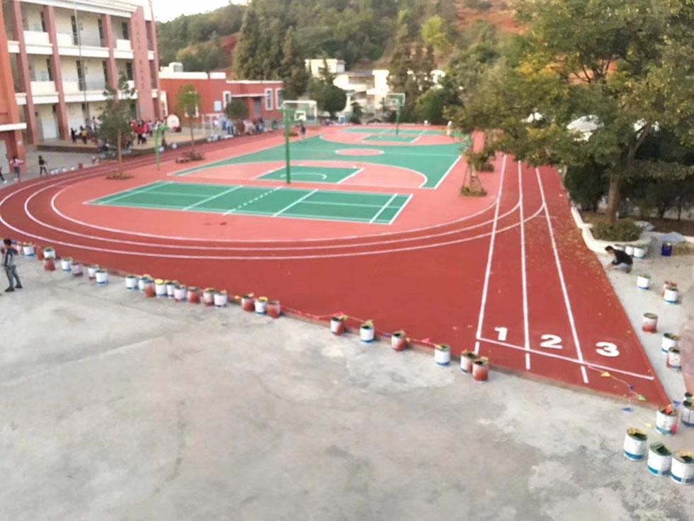 吉林机电工程学院400米学校塑胶跑道4200平方和510平方硅PU篮球场_1